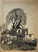 Karl Adser 1912-1995 Bauernhof mit Hühnern Landhaus Dänemark Skandinavien