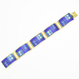 Gilt Mid Century Enameled Bracelet by Schibensky / Signed Perli Bunge Leyser Era