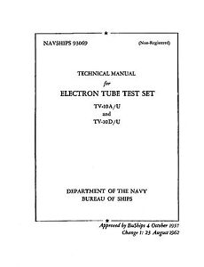 Manual Set: Reprint   TV-10   A/U and D/U Tube Testers
