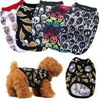 Summer Cat Casual Costumes Puppy T-shirt Pet Apparel Dog Skull Printed Vest