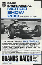 BARC International MOTORSHOW 200 1966 f2 ORIGINALE RACE Flyer forma JACK BRABHAM