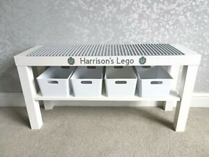 Compatible LEGO Table Grey Base Plates Organised Storage Play Personalised