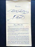 1950s WHITE LADIES RESTAURANT AND HOTEL vintage food menu WHITE PLAINS, MARYLAND
