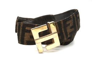 FENDI Vintage Zucca Pattern FF Buckle Waist Belt Canvas Leather Brown 3059k