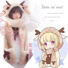 Cute Girls Deer Hoodie Gloves Antler Hat Long Scarf Winter Warm Shawl Wraps 3in1