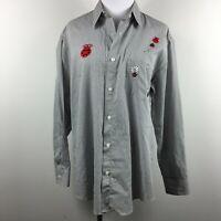 Las Olas M Striped Button Up Shirt Applique Lady Bug Floral Studded Poly Cotton