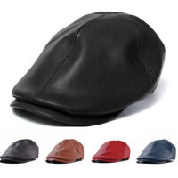 Mens Faux Leather Hat Peaky Newsboy Gatsby Cabbie Golf Driving Flat Beret Cap