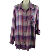Style&Co Womens Top Size 0X Purple Pink Plaid Long Roll Tab Sleeves Button Front