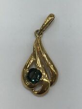 9ct 9k Yellow Gold Pendant With Natural Green Sapphire | Brand New | 0.7 Grams