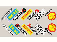 Motorcycle belly pan decals  stickers Sponsor x 14 angled sponsors FULL COLOUR