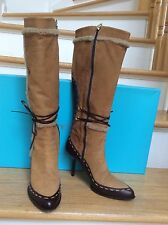 MICHELLE-K SHEARLING TRIM BOOTS Size: 7,MADE in ITALY