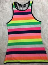 Lorna Jane Fairground LJ Excel Tank Exercise Fitness Yoga Striped Size XS New