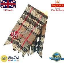 Men's Scottish Kilt Hose Sock Garter Flashes Camel Thompson Tartan Acrylic Wool