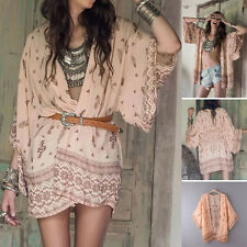 Loose Women Boho Chiffon Loose Shawl Kimono Cardigan Tops Cover Up Blouse Shirts