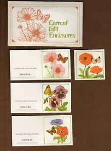 """10 Vintage Current Inc Gift Enclosures Cards Tags 2"""" Floral Flowers Butterflies"""