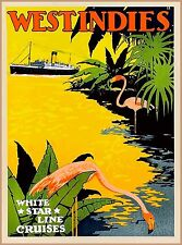 West Indies Caribbean White Star Cruises Vintage Travel Art Poster Advertisement