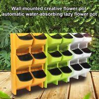 Self Watering Flower Pot Stackable Vertical Planter Wall Hanging Garden Balcony