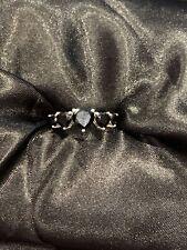 Sterling Silver 5 Stone Heart Shape Eternity Black Spinel Size N BNWOT (216)