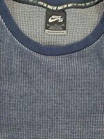 Nike Skateboard SB Mens Blue Waffle Knit Long Sleeve Thermal Crew Neck Shirt XL
