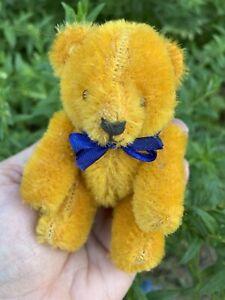 "Rare  Antique Miniature German Gold Mohair Teddy Bear 4"" Adorable Jtd NICE NR!"