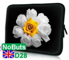 "D28 Blanco Rosa Flor 10"", 10.1"", 10.2"" Tablet Ipad Notebook Sleeve Estuche Reino Unido"