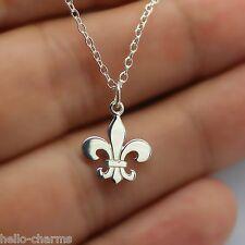 FLEUR DE LIS CHARM NECKLACE - 925 Sterling Silver - Fleur De Lys Jewelry Royal
