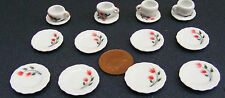 1:12 Scale 16 Piece Hand Painted Red Floral Ceramic Tea Set Dolls House TS6