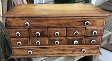 ANTIQUE 12 DRAWER WOODEN SPICE CABINET / APOTHECARY CABINET