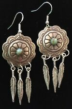 Feather Concho Earrings Silver and Turquoise Tone  Sterling Silver Ear Wires!