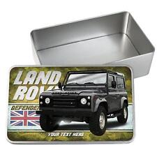 Personalised Land rover Defender Car Tin Classic Retro Storage Box Dad Gift CL27