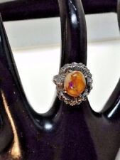 Vintage Signed Sterling Cantera Jelly Opal Floral Artisan Ring Size 6