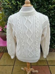 Vintage Hand Knit  Aran Style Cable Jumper Cream