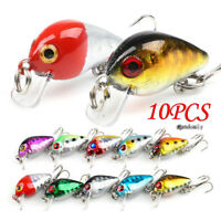 10pcs Fishing Lures Minnow Fish Bass Trout Crankbait Tackle Hooks Baits Set