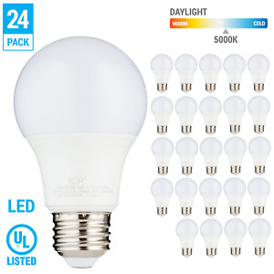 24 Pack LED A19 Bulb 9W 60W Equivalent Non Dimmable 5000K Daylight Medium E26