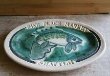 Pike Place Market Seattle Plate Dish Fish Motif Pottery Salmon 2009 Oval 10.5