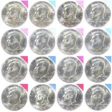 1980-1981 1984-1989 P D Kennedy Half Dollar BU Mint Cello Run Set 16 US Coins