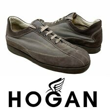 Hogan Men's Sneakers Suede Gray Brown Lace Up Low Top Shoes Sz 9 Made in Italy