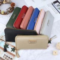 Women Long Leather Wallet Card Holder Zipper Phone Bag Coin Purse-Clutch HanNWUS