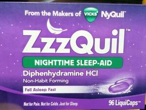 ZzzQuil Nighttime Sleep-Aid Vicks NyQuil BIG 96 ct LiquiCaps Box- EXP 03/2022