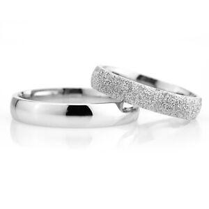 2 Trau- & Eheringe Silber 925 4mm Breit K-1214 Verlobungsringe mit Gratis Gravur