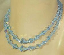 WONDERful Vintage 50's Blue AB Crystal 2 Strand Necklace XXX Sparkly  75j7