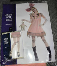 Women Pink Creepy Doll Dress with Doll Tights, Halloween costume