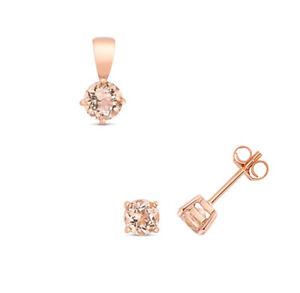 Morganite Pendant and Earrings Set Classic Solitaire 9ct Rose Gold Hallmarked