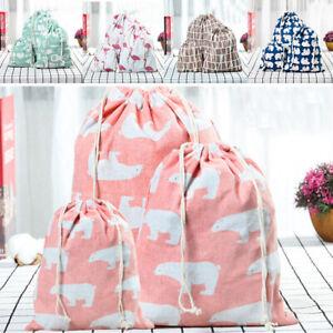 3pcs/set Cotton Fabric Drawstring Bags Storage Gift Travel Toys Shoes Laundry