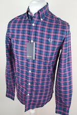 Bnwt Mens Fred Perry Check Gingham Shirt Blue Small 38 Chest Herringbone