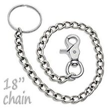 18' inch silver Long Chain Key Ring Replacement for Biker Bifold Trifold Wallet