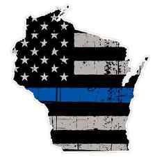 Wisconsin State (V49) Thin Blue Line Vinyl Decal Sticker Car Laptop Cop