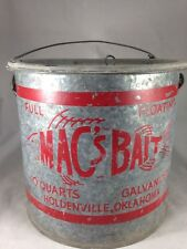 Vtg Galvanized Mac's Bait 2 Part Live Bait Minnow Bucket Fishing Anglers Patina