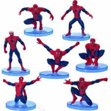 Spiderman 7 piece Set Birthday Cake Topper action Figures Toy Set cup cake top