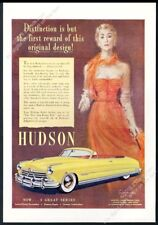 1950 Hudson Commodore 8 convertible yellow car art vintage print ad